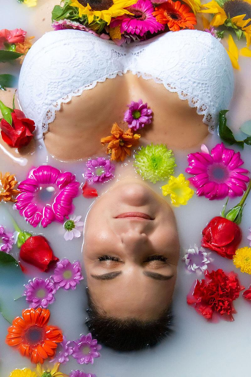 Saskatoon Boudoir Photography Roses and Scars Photography Milk Bath Photos Middle Aged Woman (2)