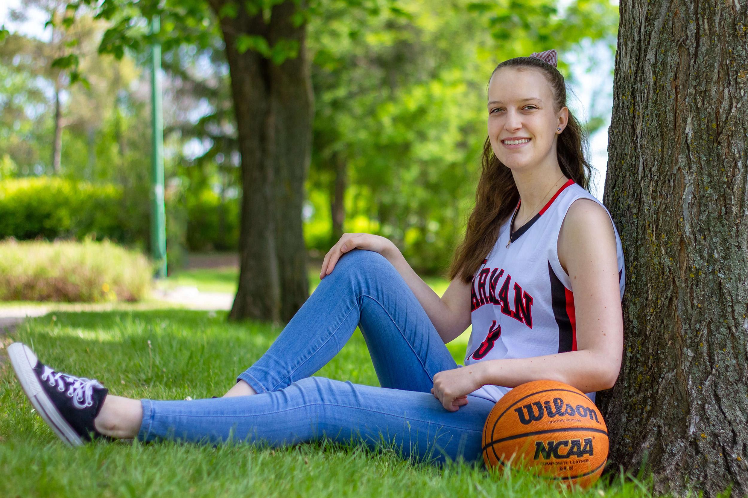 Saskatoon Seniors Casual Portraits female basektball jersey in a park