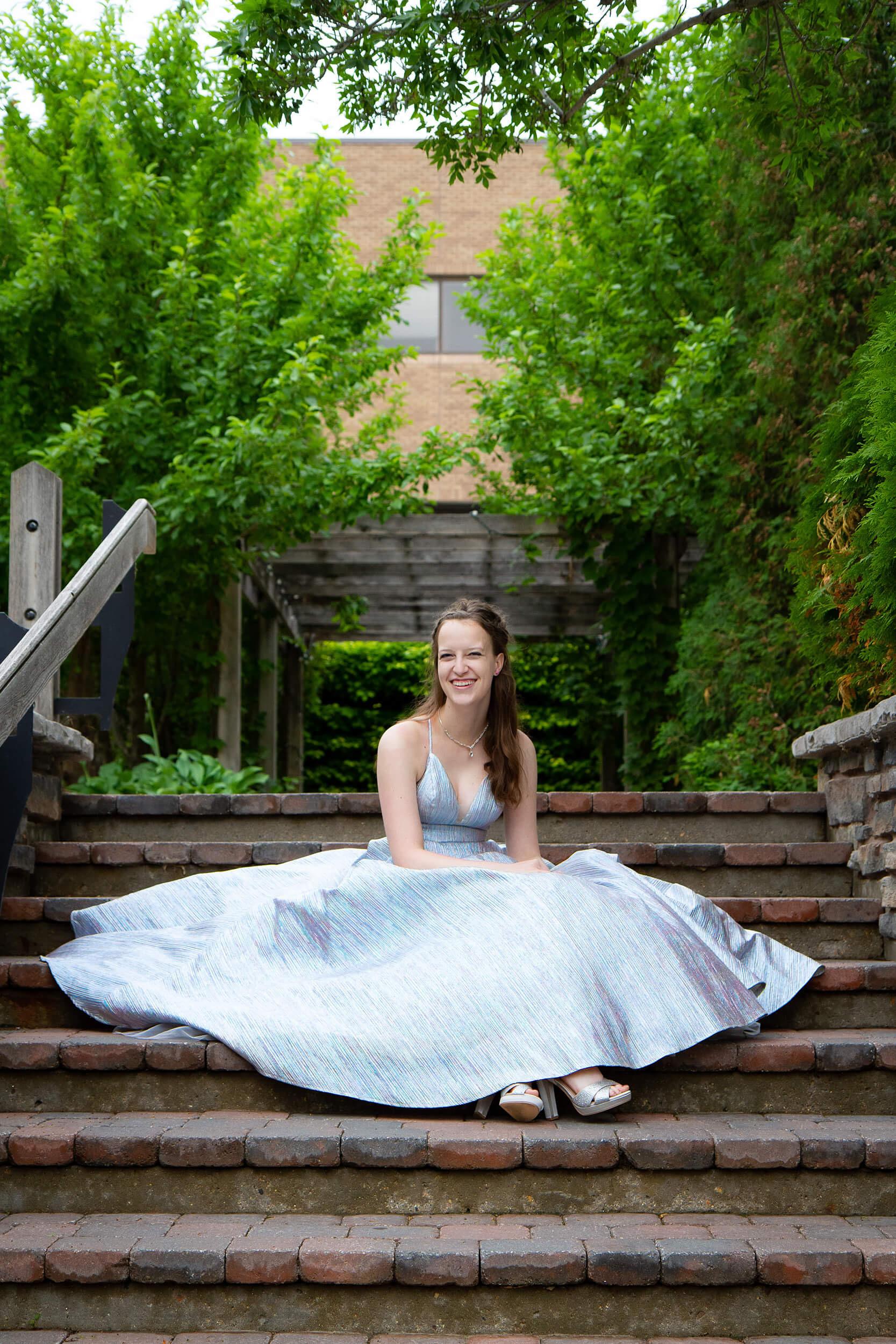 Saskatoon Formal Grad Prom female photo full skirt silver dress Boffins Gardens