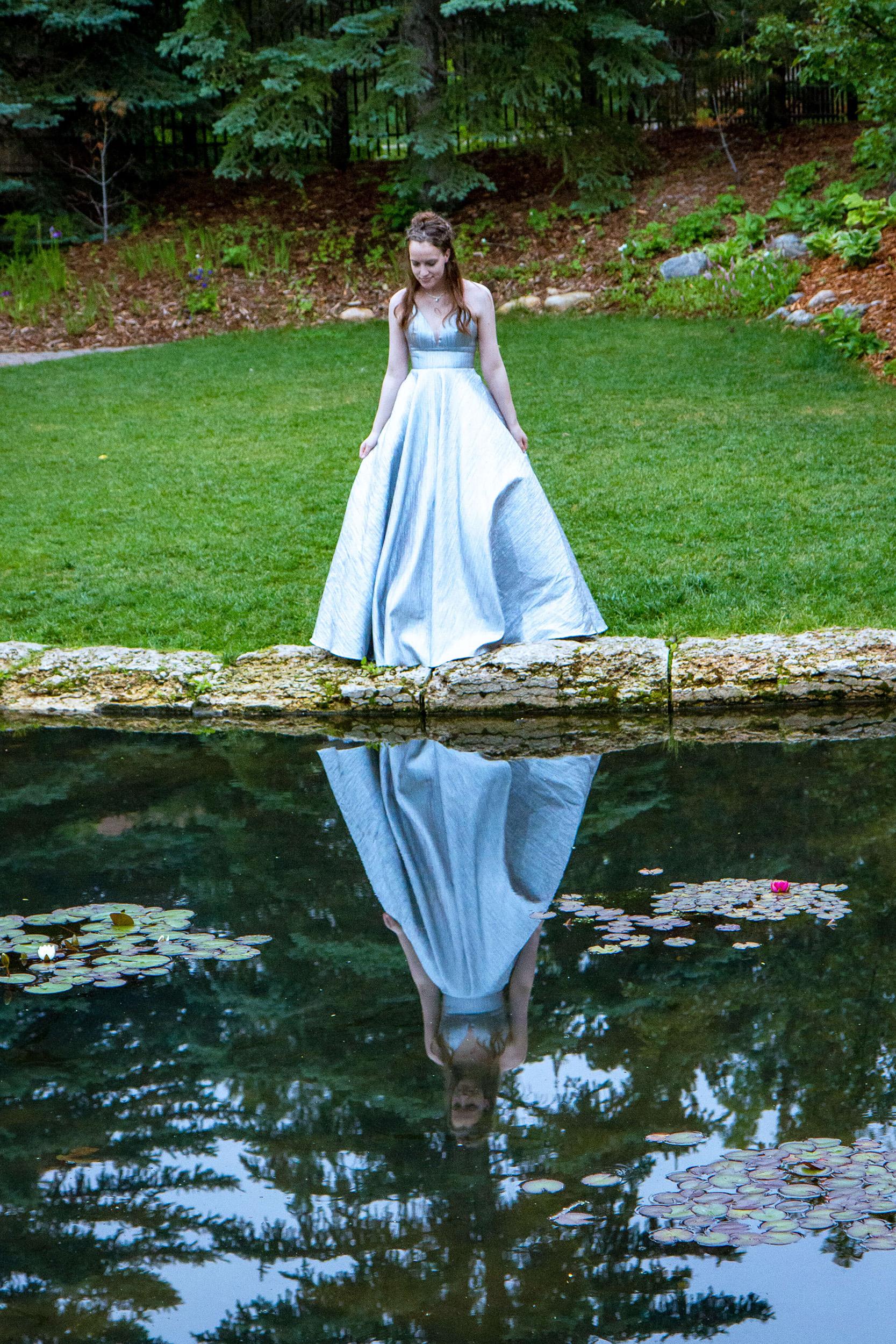SSaskatoon Formal Grad Prom female photo full skirt silver dress Boffins Gardens