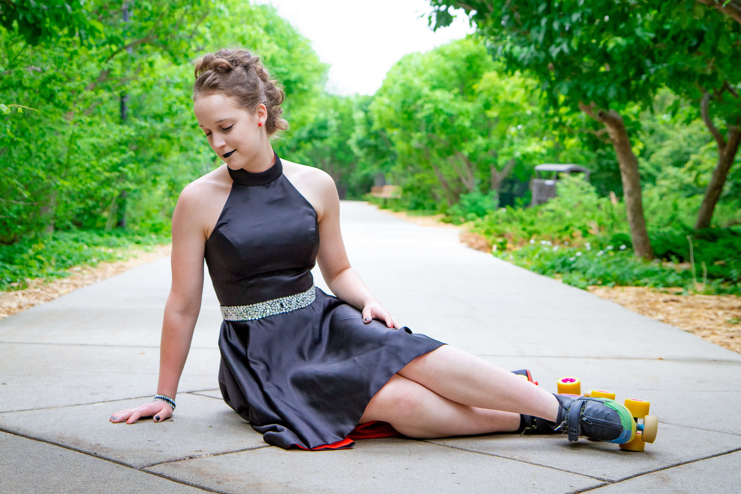Saskatoon Formal Grad Prom female black dress roller skates Boffins Gardens