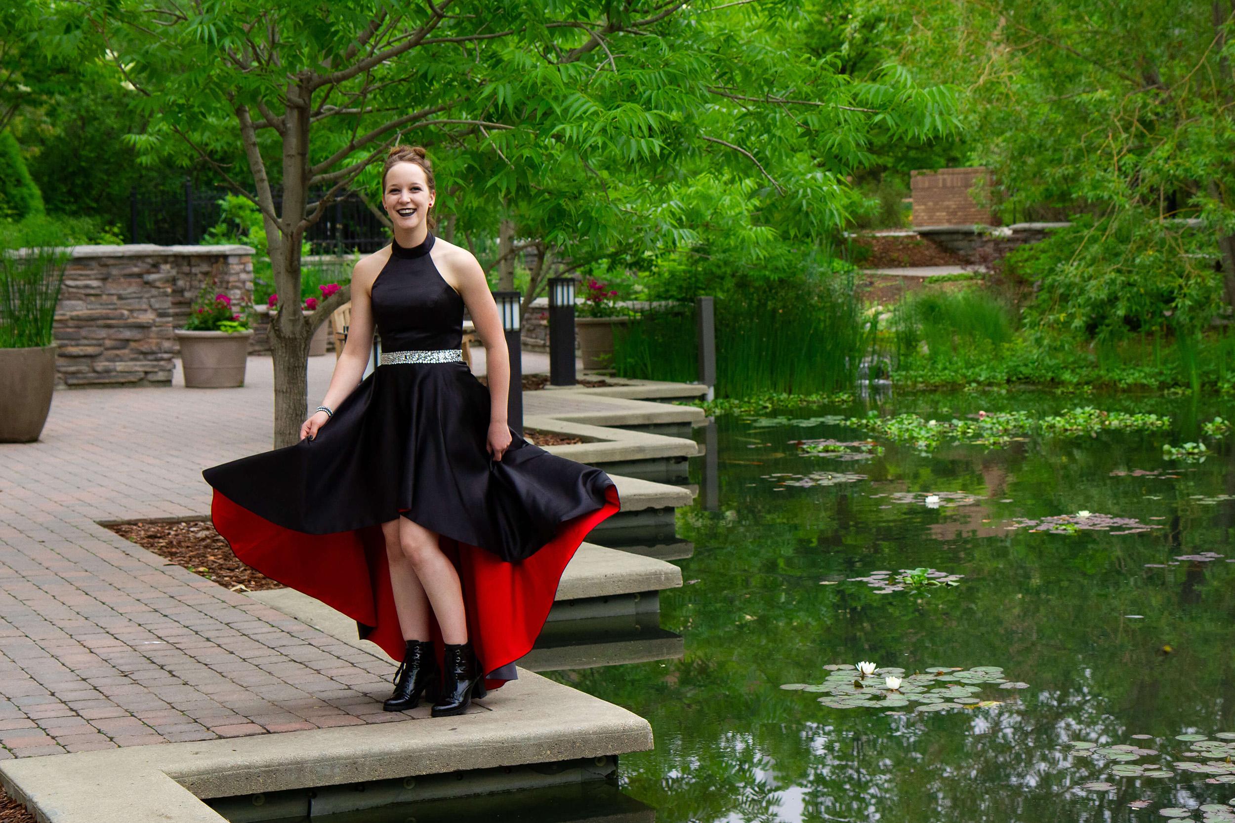 Saskatoon Formal Grad Prom female black dress Boffins Gardens