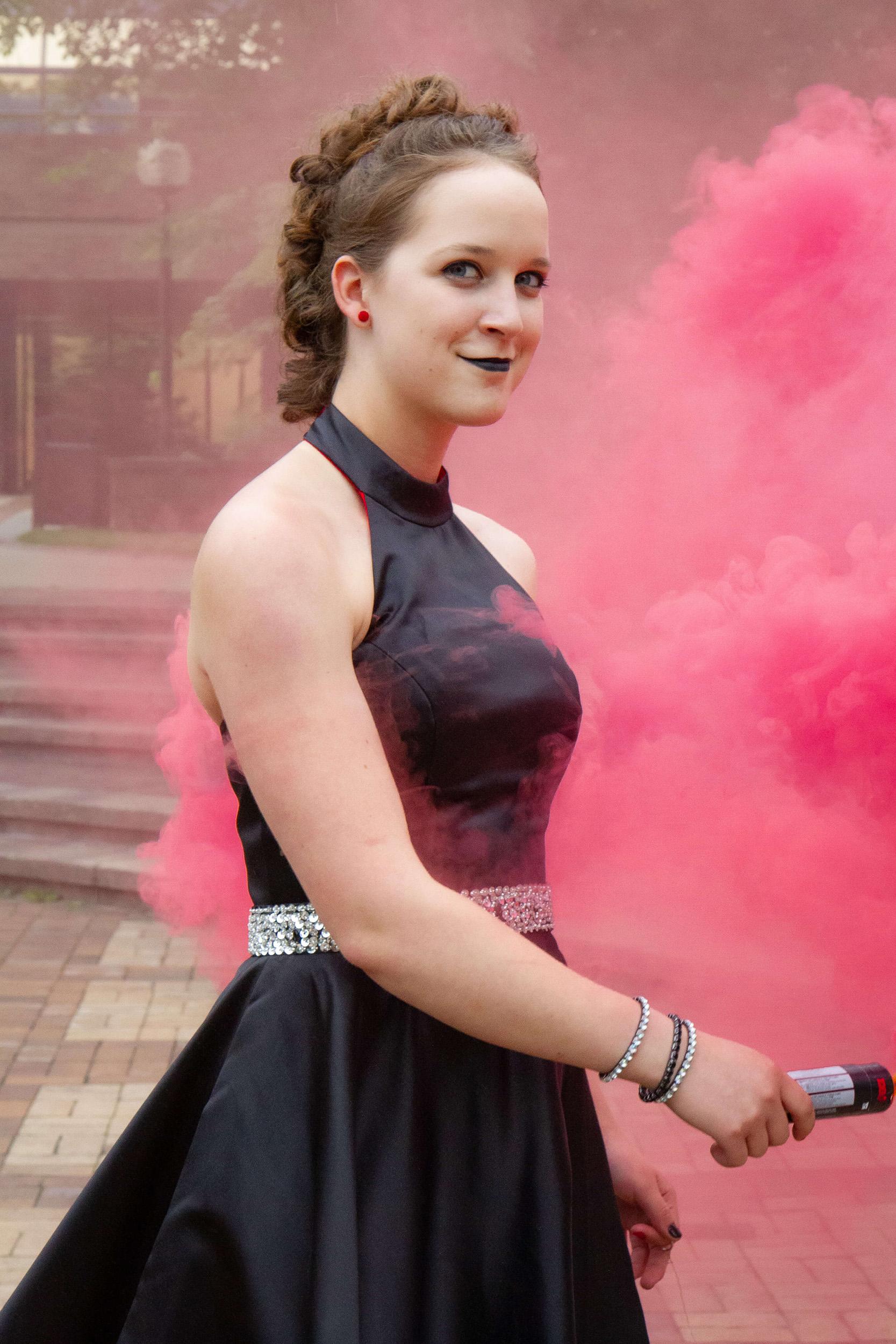 Saskatoon Formal Grad Prom female black dress Boffins Gardens smoke bomb