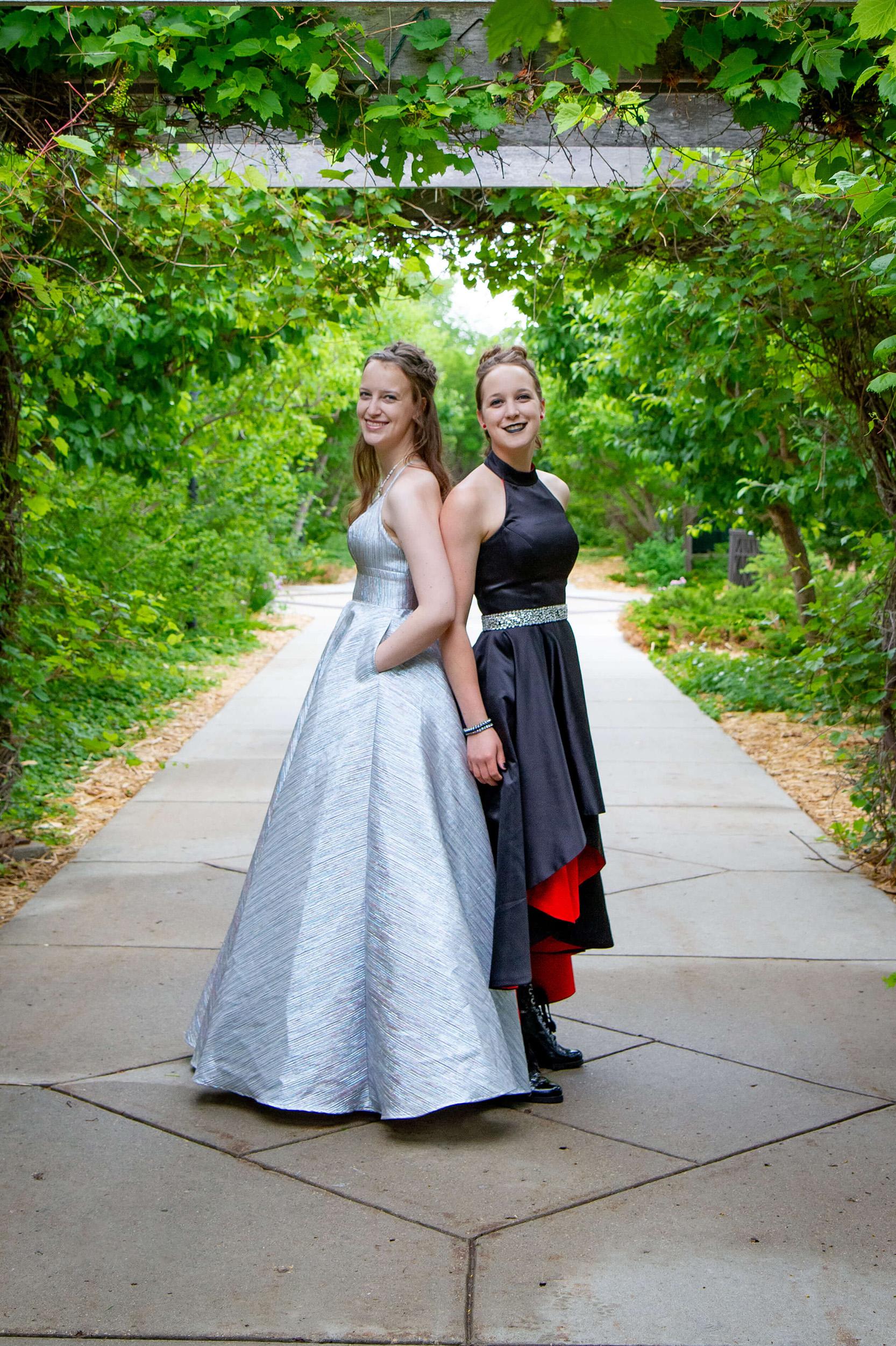 Saskatoon Formal Grad Prom females twins Boffins Gardens