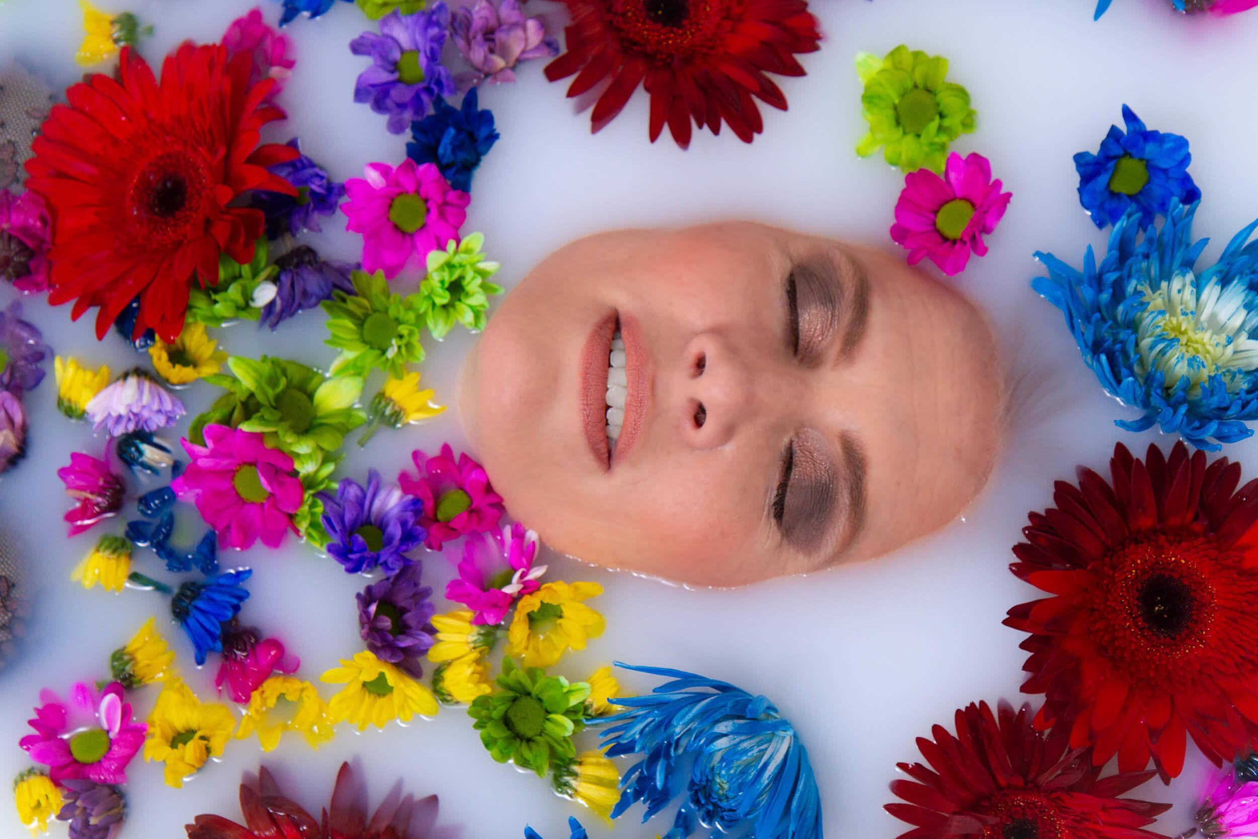 Saskatoon Boudoir Photographer Roses and Scars Photography Milk Bath Photos